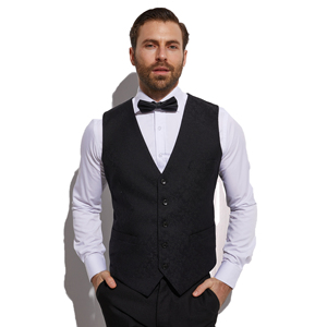 Image 4 - Traje de novio de 3 piezas con chaleco Jacquard, traje de novio de color Gris Carbón oscuro, traje de boda para hombre, esmoquin para novio de boda, 2020