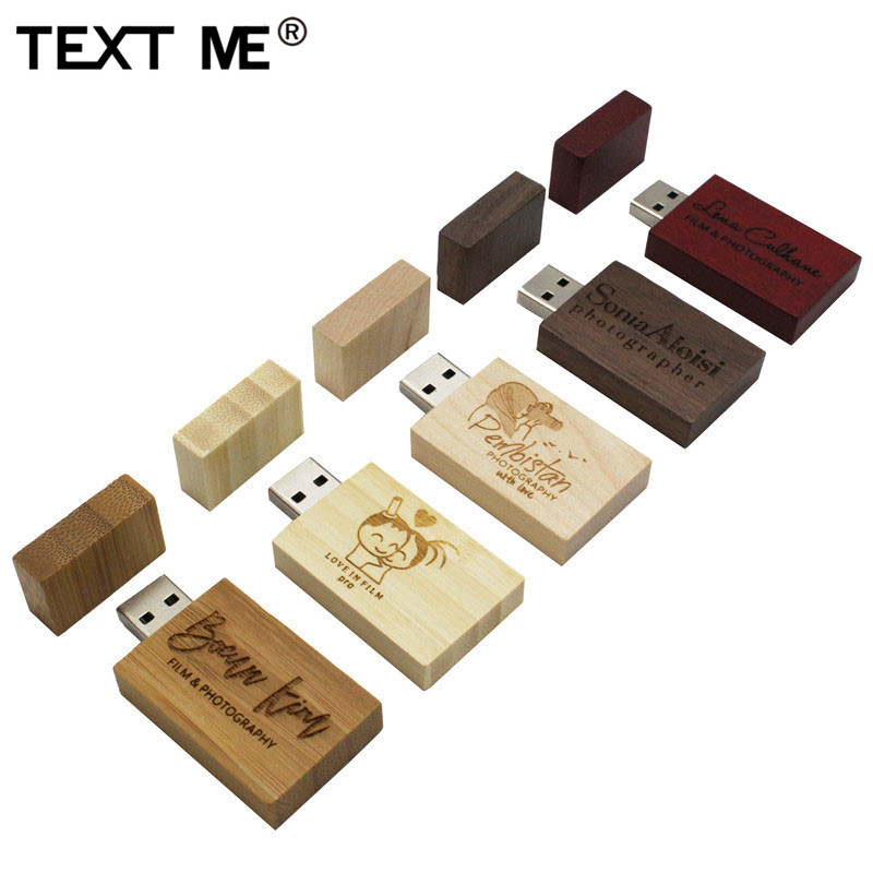 TEXT ME Wooden Personalized LOGO Usb Flash Drive Usb 2.0 4GB 8GB 16GB 32GB 64GB Photography Gift
