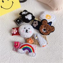 Kids Children Girl BB Hair clip Cartoon Animal Plaid Korean Cute Fall Winter Rainbow Hairpin Head wear Accessories-SWD-W7