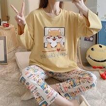 Мультфильм Ночная рубашка хлопковые пижамы для женщин одежда