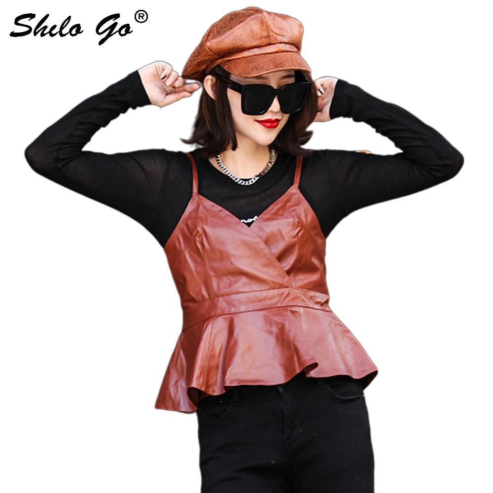 Genuine Leather Cami Plus Size V Neck Peplum Cami Top Women Autumn Elegant Spaghetti Strap Ruffle Asymmetrical Vest Cami Tops