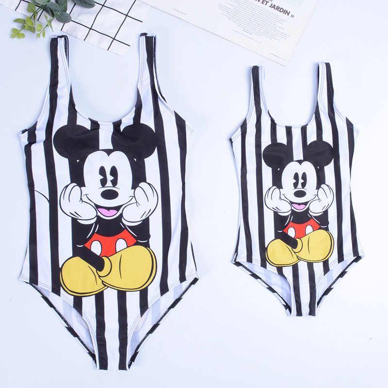 Famille correspondant maillot de bain Bikini pour femme une pièce Mickey Bikini maillot de bain femmes une pièce maillot de bain maillot de bain costume pour enfants fille
