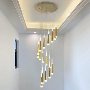 Image 3 - LED Chandelier Gold/Black/White/Coffe/Silver Staircase Long Pendant Lamp Duplex Building Villa Attic Adjustable Hanging Light