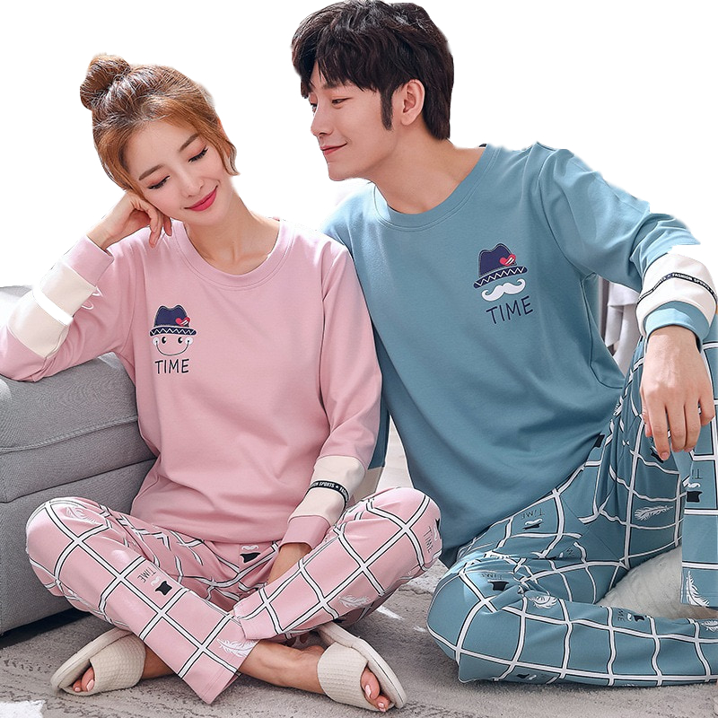 2019 Couple Pajama Set Cotton Pijamas Long Sleeve Sleepwear His-and-her Home Suit Pyjama For Lover Man Woman Lovers' Clothes
