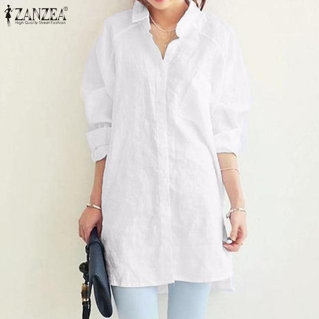2021 ZANZEA femmes bouton Blouse décontractée élégant chemises à manches longues Blusas femme revers solide tunique Baggy Chemise grande taille 5XL