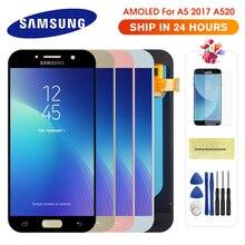 Оригинальный Super AMOLED ЖК-дисплей для Samsung Galaxy A5 2017 A520, ЖК-дисплей A520F, сменный сенсорный экран с цифровым преобразователем