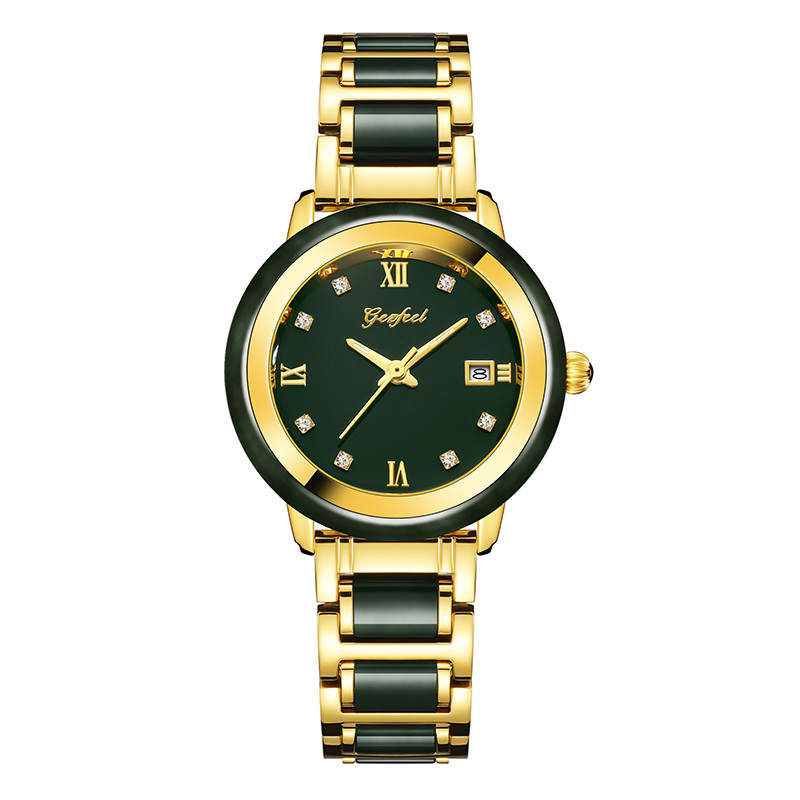 GEZFEEL Genuine Jade Quartz Watches Advanced Movement Running Luxury Ladies Waterproof Watch With Certificate Relogio Feminino