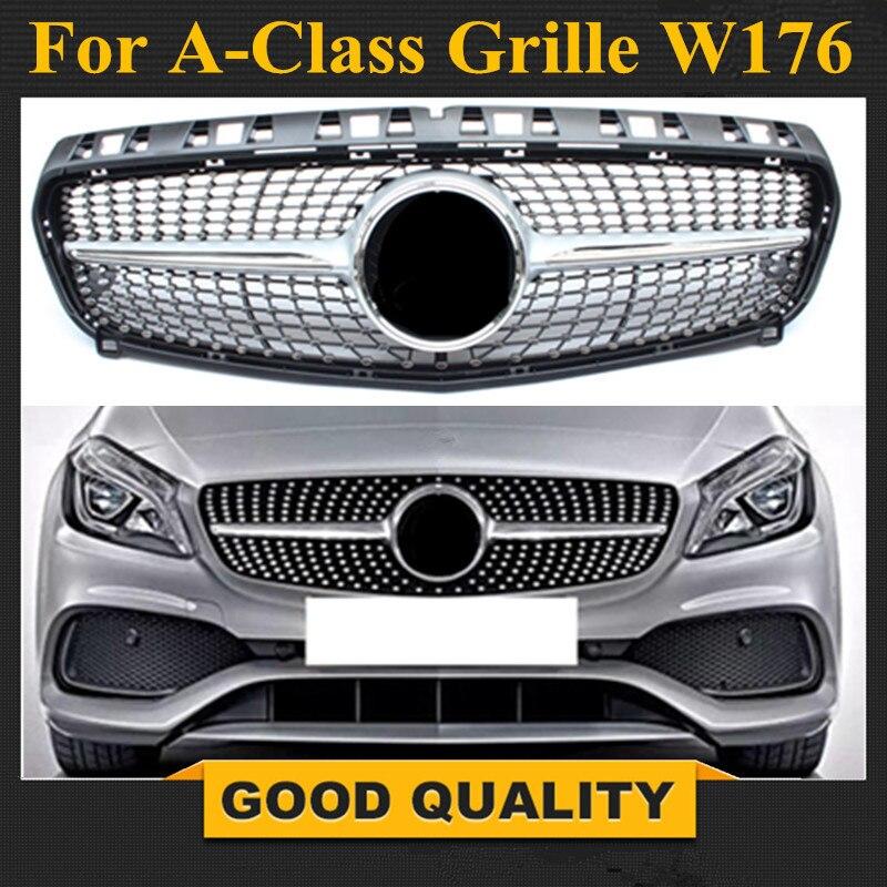 Алмазная решетка для Mercedes A Class Grill W176, глянцевый черный без эмблемы, замена ABS 2013 2015, A180, A260, A200, a250