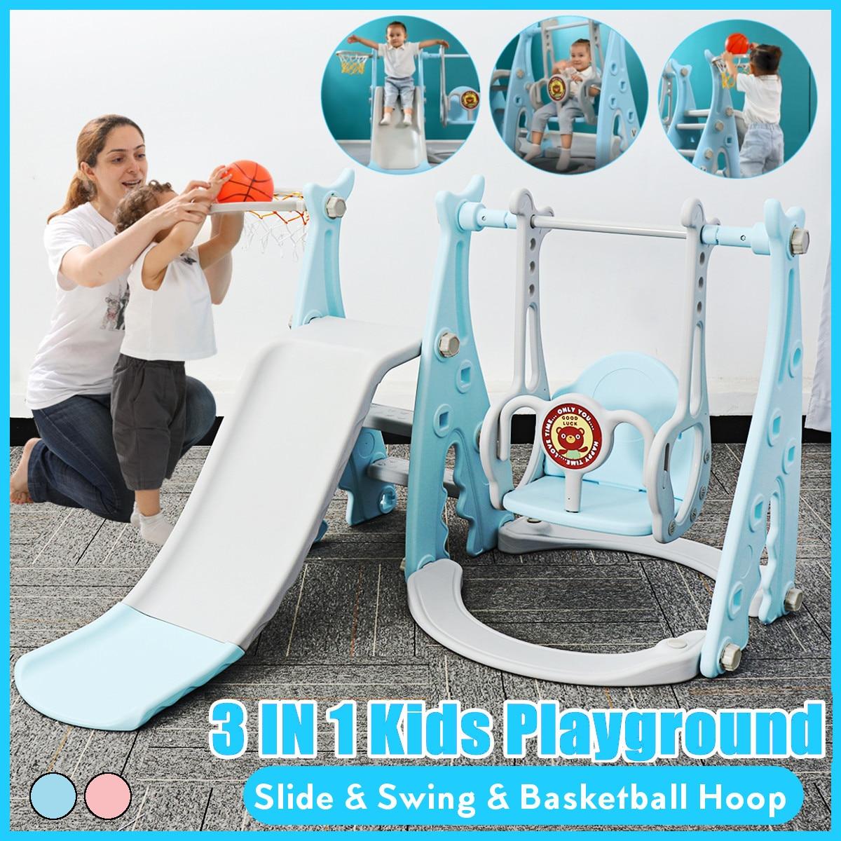 3 in 1 Children's Sliding Board Seesaw Home Kids Playground Plastic Slide Basketball Toy Set Indoor Kindergarten Swing for Child 1