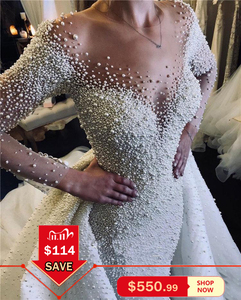 Image 5 - Luxury Full Pearl Beaded Mermaid Wedding Dresses With Detachable Train Vintage Long Sleeves Saudi Arabic Plus Size Bridal Gown