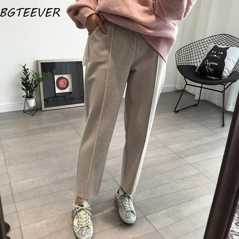 BGTEEVER Spring Thicken Women Pencil Pants Plus Size Wool Pants Female Autumn High Waist Loose Trousers Capris Good Fabric