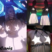 Fashion Women Clubwear Strapped Crop Top Bandage Ladies Sliver Starfish Reflective Camisole Crop Top Female Night Club Tank Top