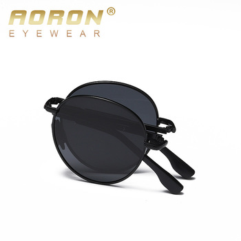 AORON Folding Sunglasses Men / Women Polarized Sunglasses Metal Frame UV400 Sun Glasses Classic Round Eyewear aoron photochromic polarized mens sunglasses classic rectangle sun glasses uv400 aluminum magnesium leg sunglasses