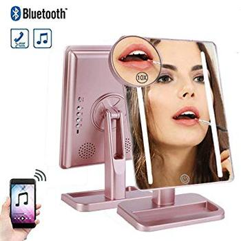 20 светодиодных косметических зеркал Bluetooth динамик с USB зарядкой 10X увеличение 180 градусов вращающееся зеркало со светом