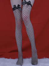 Sexy bow-knot thigh stockings mesh stretch fish nets sock
