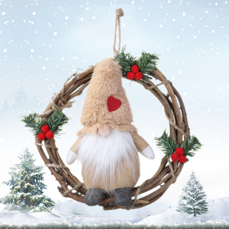 Swedish Santa Xmas Tree Door Hanging For Christmas Wall Window Decor Christmas Garlands Plush Dolls Gnome Rattan Wreath
