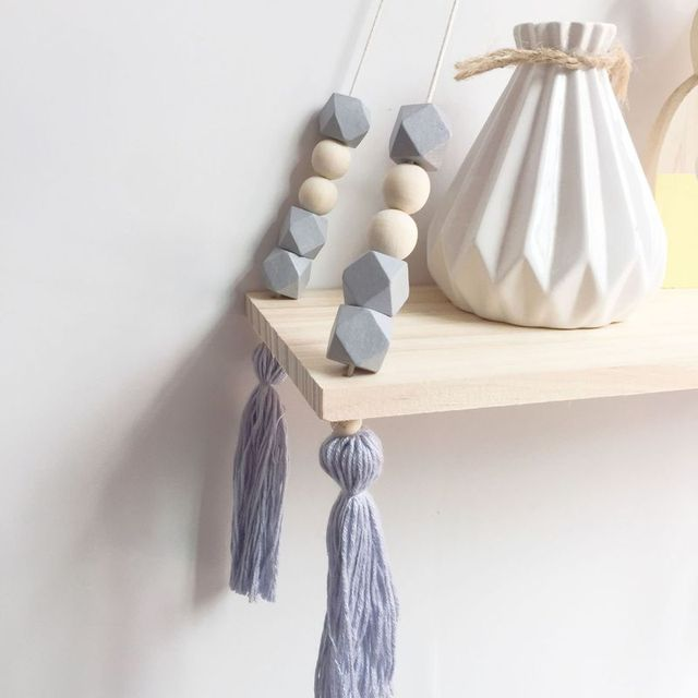 Nordic Nursery & Kids Decor Tassels Storage Shelf Rack Wall Hanging Wood Toys Model Baby Kid Room Furnish Artic Home Decoration 5
