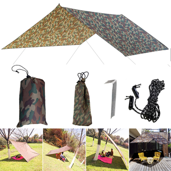 3x3m Camouflage Sun Shelter Awning Tent Tarp Outdoor Camping Rain Fly Anti UV Beach Tent Shade Camping Sunshade Canopy desert camel three use automatic tent aluminum alloy rods outdoor camping tent rain proof anti uv shelter tent