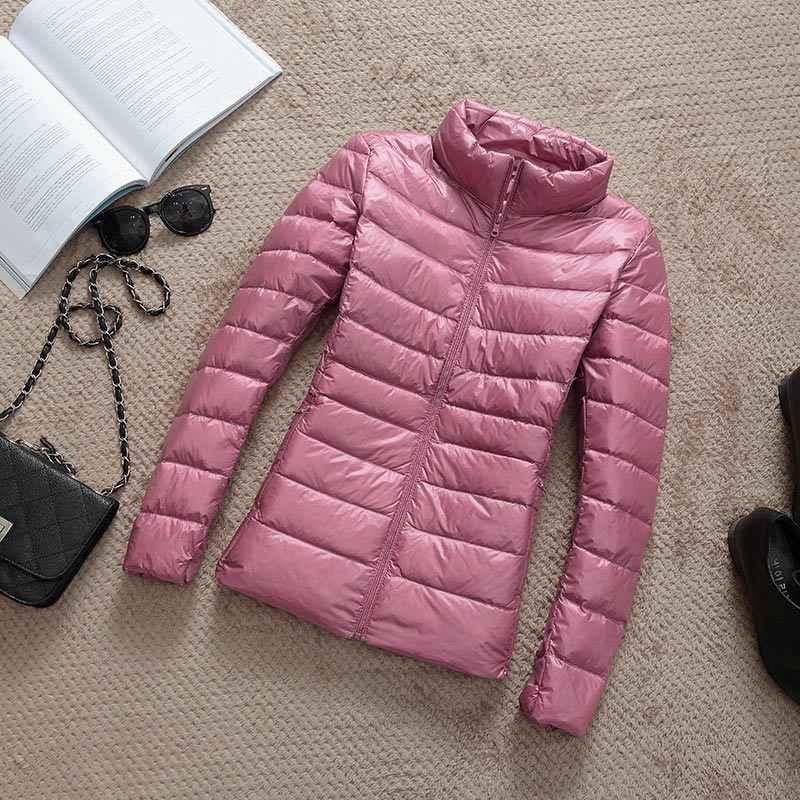 2020 ใหม่ฤดูใบไม้ร่วงฤดูหนาวผู้หญิงบางเป็ดสีขาวลงเสื้อแจ็คเก็ต Parka หญิง Ultra Light Down Coat สั้นเสื้อ PLUS ขนาด 4XL