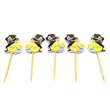 10pcs Boys Favors Decorate Birthday Party Beauty Beast Cupcake Toppers with Sticks Cake Topper Happy Baby Shower Supplies