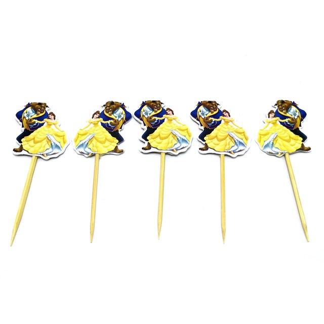 10pcs 소년 호의 장식 생일 파티 아름다움 짐승 컵 케이크 토퍼 스틱 케이크 토퍼 해피 베이비 샤워 용품