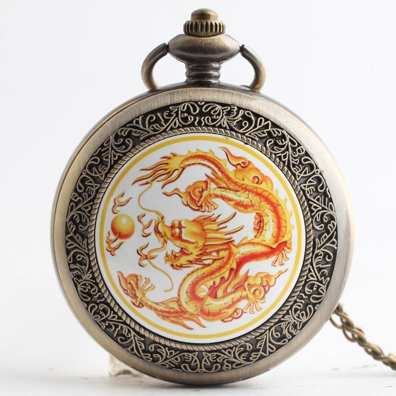 Pocket & Fob Watches  Gold Dragon  Quartz Pocket Watch Pendant Chain Necklace for Women/Men Watch Gift