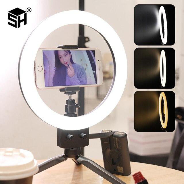 "9 ""LED Ring Licht 3200 5600K 80 LEDs Selfie Ring Lampe Fotografische Beleuchtung Mit Stativ Telefon Halter USB Stecker Foto Studio"