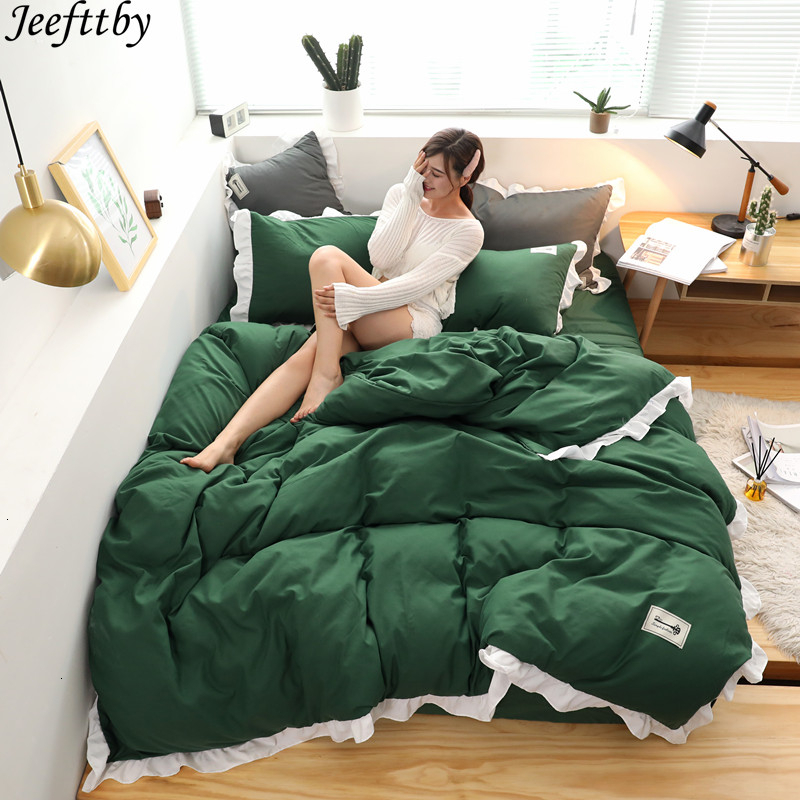 Home Textile Stylish Simplicity Solid Color 4pcs Bedding Set Ruffled Pillowcase Bed Linen Duvet Cover Set King Queen Twin Size