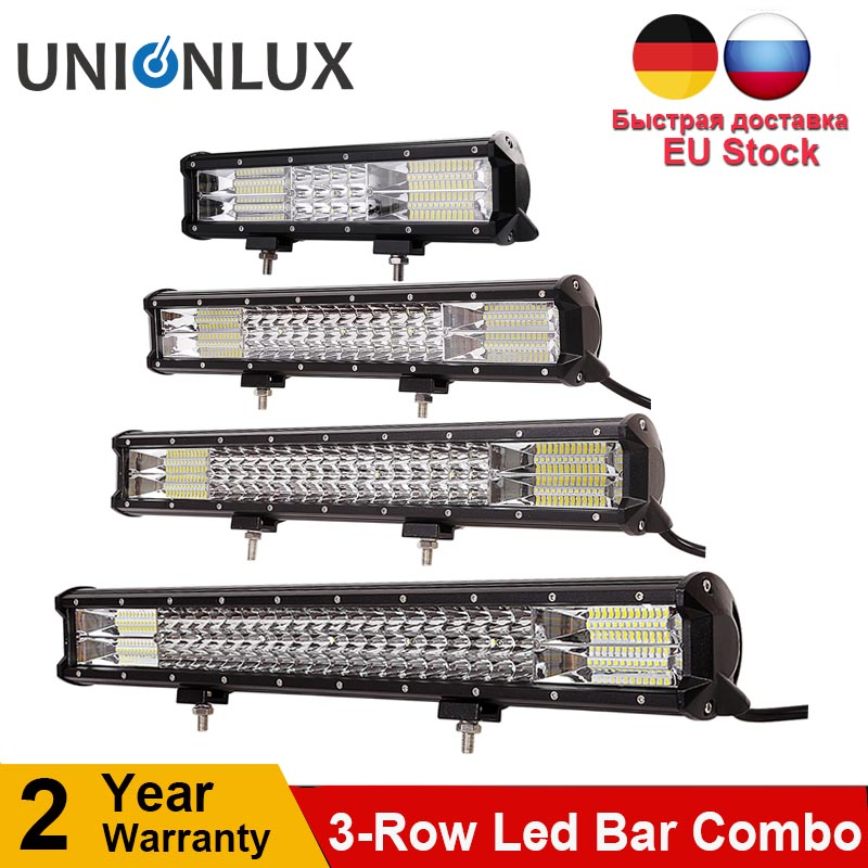 5 15 17 20 23'' 26'' 28' 31'' 34'' 288w 324w 432w 3-Row LED Light Bar Offroad Combo Beam for Truck SUV ATV 4x4 4WD 12v 24V