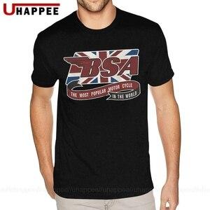 Tanie graficzne Retro BSA motocykl koszula dla mężczyzn XXXL z krótkim rękawem niebieski wycięcie pod szyją koszulki