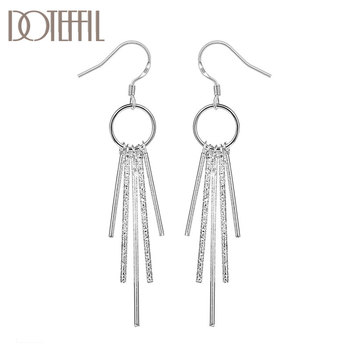 DOTEFFIL 925 Sterling Silver Tassel Earrings Charm Women Jewelry Fashion Wedding Engagement Party Gift doteffil 925 sterling silver grapes more beads charm bracelets jewelry for fashion women wedding engagement gift