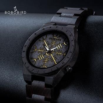BOBO BIRD Wood Watch Norse Rune Compass Mens Watches 2021 Luxury Wristwatch Wooden Strap Clock Hour Bamboo Gift Box reloj hombre