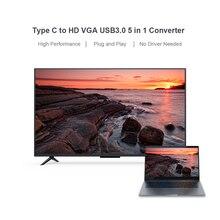 USB C Type C to HD VGA USB Adapter 5 in 1 Converter for Laptop Apple Macbook Google Chromebook