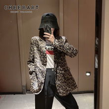 Cheerart Autumn Brown Blazer Women Fashion Ladies Blazers Femme Floral Long And Jackets Coat Fall 2019 Clothes
