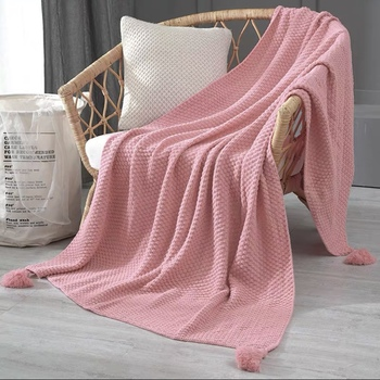 Sweat Pink Blanket Sofa Knit Throw Blanket Shawl for Bedroom Decor Chair Bed Blanket Children Girls School
