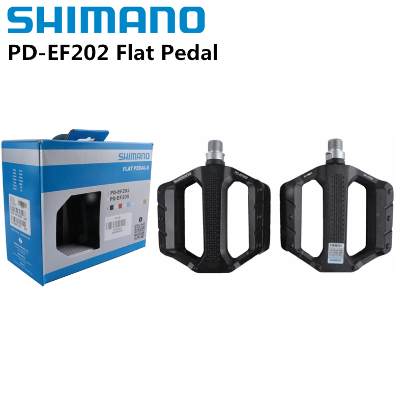 Shimano PD EF202 MTB Flat Pedal Casual Riding Mountain Bike Aluminum Alloy Pedals Black PD-EF202 With Original BOX