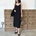 Сексуальное женское платье макси, Черная майка на бретельках без рукавов с вырезом в форме буквы V длинные платья размера плюс женская одежд...