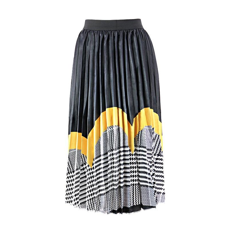 2020 Summer Newest Letter Print Long Skirt Women Irregular Stitching Color Skirt Lady High Waist Elastic A-Line Skirt ZQY832 3