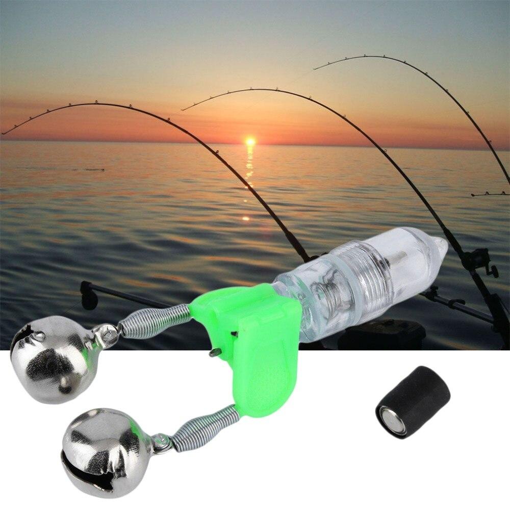 LED Flash Light Electronic Fishing Bite Alarm Double Bells Night Fishing Bite Detector Clip On Fishing Rod Fishing Tackle Tools