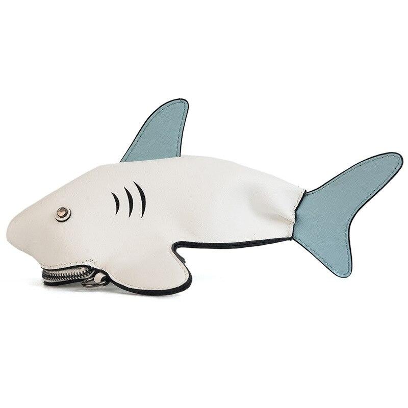 Cartoon Shark Shoulder Bag Smooth Zipper Soft Single Square White Blue Black Gray Hip Hop Style Cartoon Shark Shoulder Bag