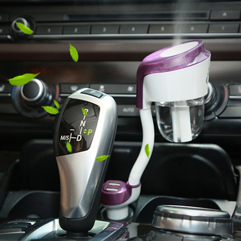 Car Humidifier Essential Oil Aroma Diffuser Air Purifier Mute Mist Maker Air freshener Sprayer With Dual USB Charger