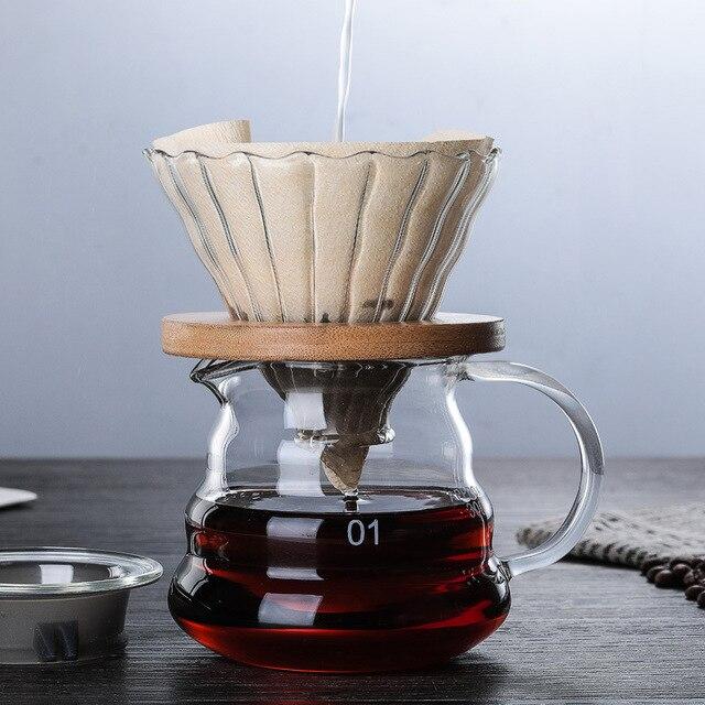 500ML/300ML di Legno staffe di Caffè di Vetro Dripper e Pot Set Japness stile V60 di Caffè di Vetro Filtro Riutilizzabile filtri di caffè