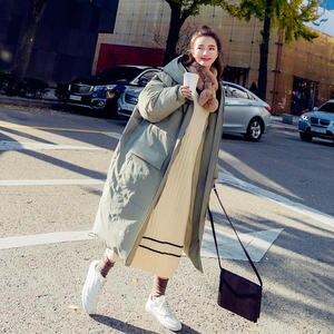 Image 4 - Long Down Cotton Jacket Women Winter Parka Coat Hooded Loose Warm Oversize Winter Jacket Thicken Padded Women Winter Coat Q1885