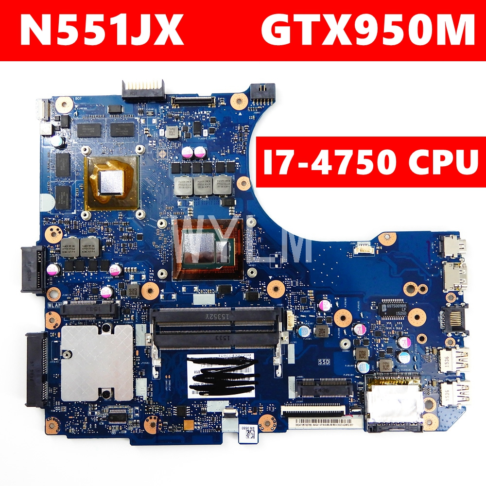 N551JX/N551JK I7-4750CPU GTX950M REV2.0 Mainboard Para ASUS N551J G551J N551JX G551JX N551JK trabalho laptop motherboard Teste 100%