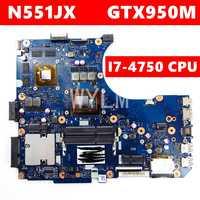 N551JX/N551JK I7-4750CPU GTX950M placa base REV2.0 para ASUS N551J G551J N551JX G551JX N551JK placa base de computadora portátil de trabajo 100%