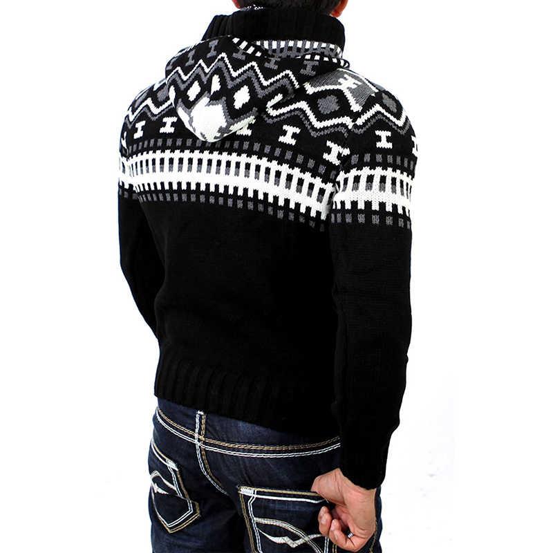 AKSR nowy swobodny ciepły męski zimowy sweter z kapturem długi rękaw mieszany kolor zagęścić Slim dopasowane płaszcze marki swetry męskie