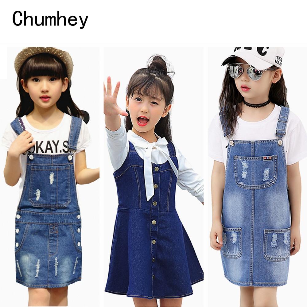 Chumhey 2-16T Girls Sundress Bib Suspender Dresses Summer Straps Kids Pinafore Denim Overalls Children Clothing Girl Clothes