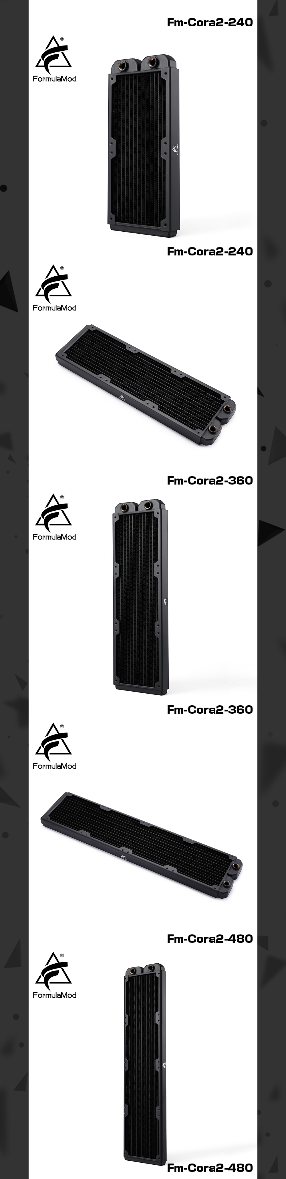 FormulaMod Fm-CoRa2 28mm Thickness Copper Radiator 120/240/360/480 Black Suitable For 120 Fans