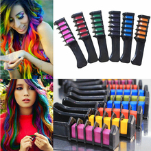 Creative 6PCS Non-toxic Hair Chalk Comb One-time Temporary Dyeing Comb Soft Pastels Salon Comb 6 colors