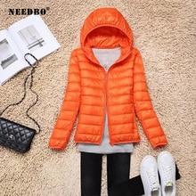NEEDBO Womens Down Jacket Hood Brands Plus Size 6xl Winter Ultra Light Women High Quality Woman Hooded Coat